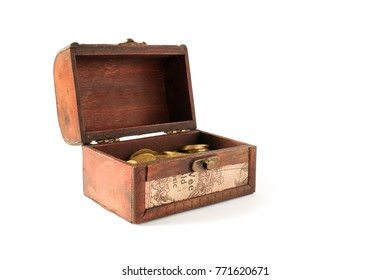An open chest with gold. Chest on isolated background