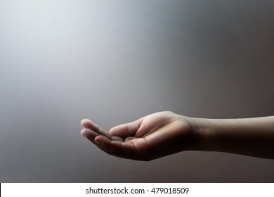 Open children hand begging for money. hand begging. Concept of holding, begging