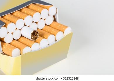 Open cigarette pack
