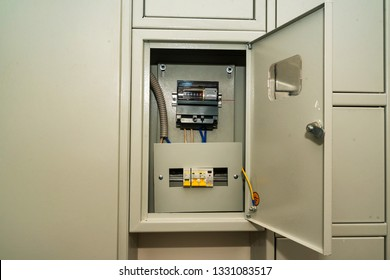 Open circuit board connection or eletrical panel in modern building