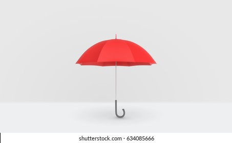 An open classic red umbrella with a handle vertically placed on white background. Rainy weather. Protection and safety. Umbrellas and parasols.