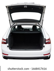 Open clean trunk of SUV car back view isolated
