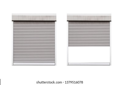 Open and closed aluminum windows roll isolated on white background