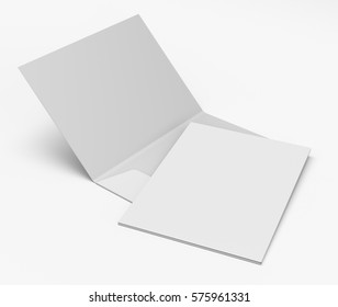 Open and closed blank folders mockup. 3D rendering