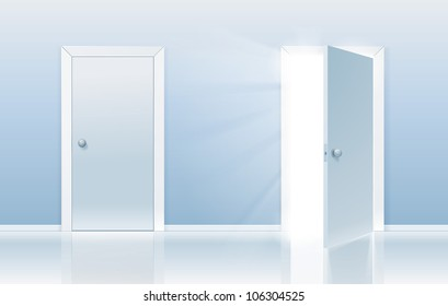 Open and closed door concept. One door is closed and the other one is opening up to new opportunities.
