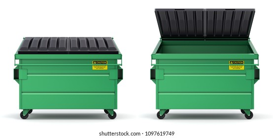 Open and closed green dumpster - 3D illustration