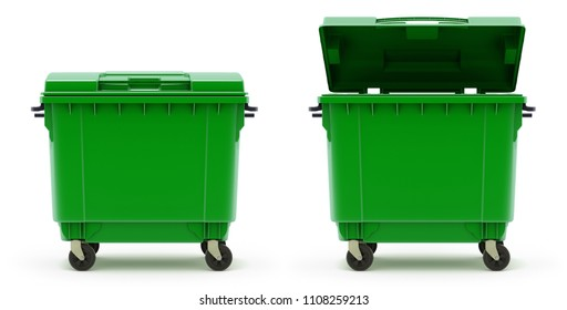 Open and closed green garbage container - 3D illustration