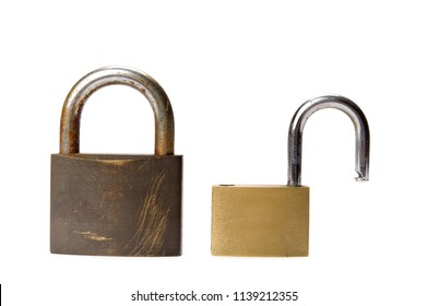 Open and closed padlock isolated on white background.