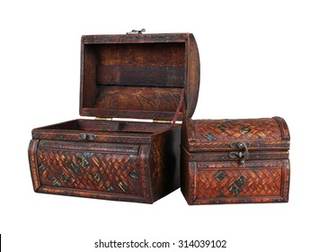 Open and closed vintage wooden chests isolated with clipping path