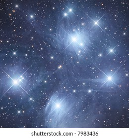 """Open cluster M45 """"The Pleiads"""" in Taurus (detail)"""