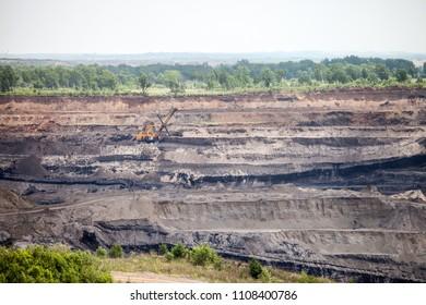Open coal mine in Luchegorsk, Russia
