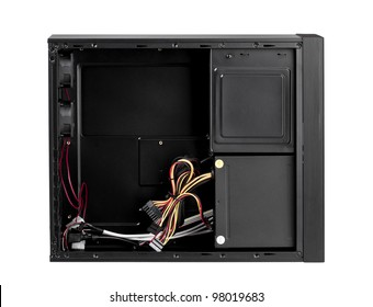 Open computer case to install your hardware and accessory the image isolated on white