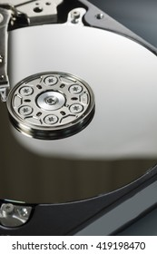Open cover harddisk and harddisk back - harddisk drive is the data storage for the digital data where is in the your computer isolate on white