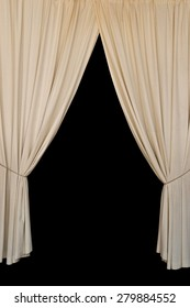 Open curtains elegant drapes tied with rope on black background.