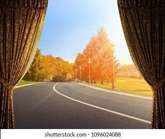 Open curtains on the door