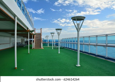 Open deck of cruise ship sailing to Caribbean