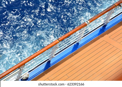 Open deck on cruise ship, sea view
