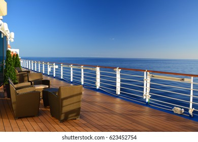 Open deck on cruise ship at the Caribbean sea
