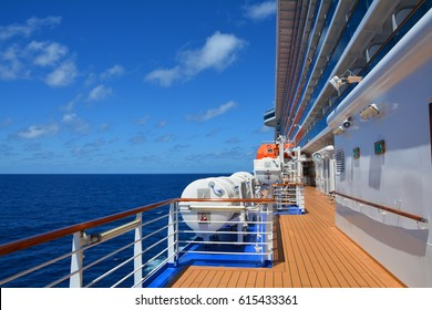 Open deck on huge cruise ship sailing on the Caribbean sea