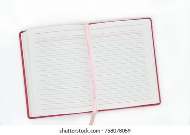 Open diary with blank pages on the white background; Empty forms for scheduling