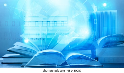 open digital ebook with blue tech background elearning concept