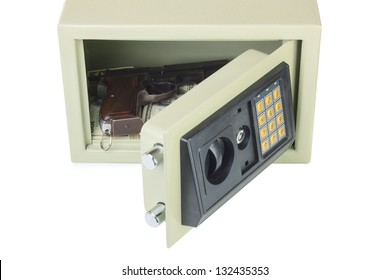 Open digital safe isolated on white background