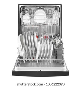 Open Dishwasher with Dishes Isolated on White. Front View of Modern Stainless Steel Fully Integrated Built-In Dishwasher Range Machine. Domestic and Kitchen Appliances. Washing Dishes Equipment