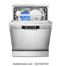 Open Dishwasher Isolated on White Background. Front View of Modern Stainless Steel Freestanding Dish Washer Machine. Kitchen and Domestic Appliances
