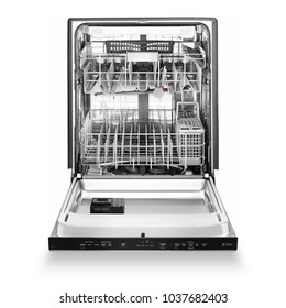 Open Dishwasher Isolated on White Background. Front View of Built-In Dishwasher Machine. Modern Stainless Steel Open Dishwasher Range. Kitchen Appliances. Domestic Appliances. Home Appliances