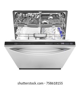 Open Dishwasher Machine Isolated on White Background. Front View of Modern Stainless Steel Built-In Dish Washer Range. Kitchen and Domestic Appliances. Clipping Path