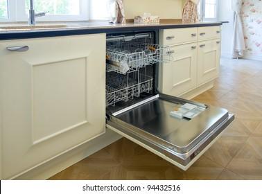 open dishwashing machine in the kitchen