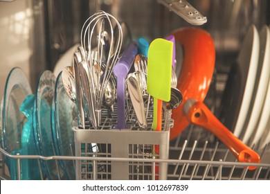 open dishwashing machines closeup