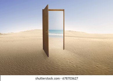 Open door with access to the beach from desert. Travel concept