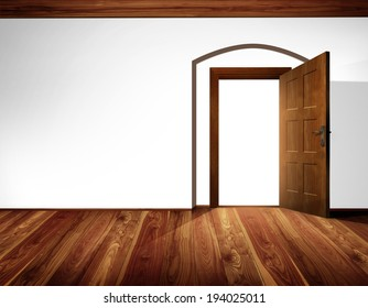 Open door with architectural element - barrel vault; white wall, wooden floor and timber ceiling construction