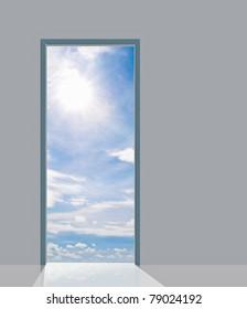 Open door to blue sky