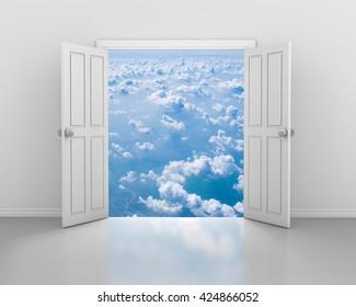 open door and blue sky 3d rendering