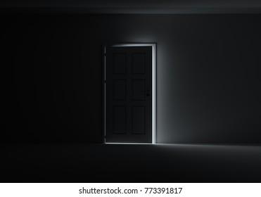 Open door with bright light streaming into very dark room. 3D Illustration