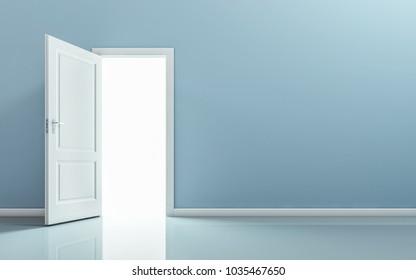 Open door in empty room. 3D rendering