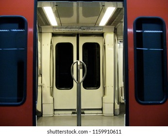 Open door of an empty subway car
