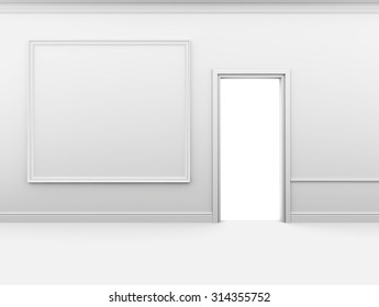Open door and frame on the wall in an empty interior.