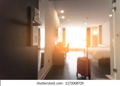 Open the door of the hotel