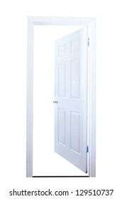 Open door isolated on white background with clipping path.