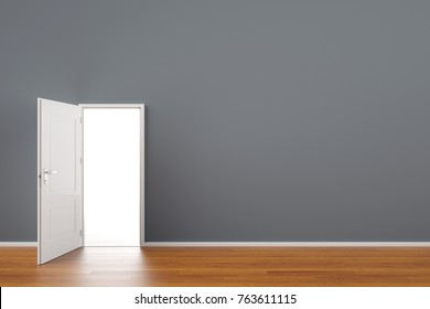 Open door with light on as chance or future concept (3D Rendering)