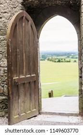 Open door in medieval castle