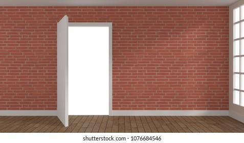 Open door in a modern room with a brick wall and wooden floor, 3d rendering