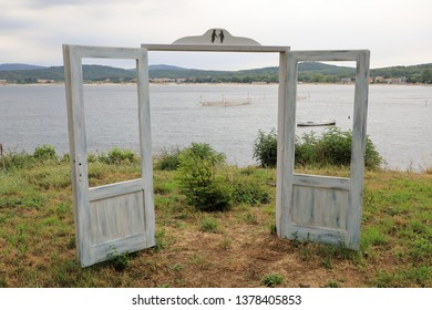 Open door on the coast of Kavatsite Bay, Sozopol, Bulgaria, Europe Kavatsite beach is located 3 km south of town of Sozopol, between capes of St.Christos and Agalina.