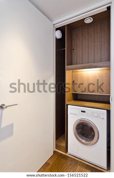 Open Door On Utility Room Wooden Stock Photo Edit Now