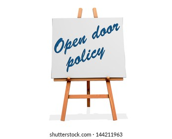 Open Door Policy on a sign.