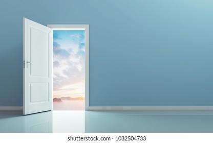 Open the door and see the nature behind the door. 3D rendering