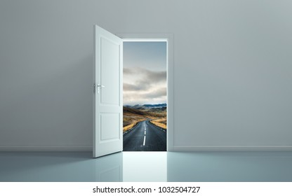 Open the door and see the path forward. 3D rendering